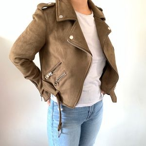 Zara suede zipper light brown jacket XS